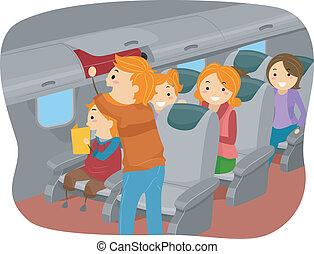 dentro, stickman, aeroplano, famiglia