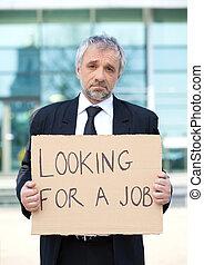 depresso, manifesto, formalwear, dall'aspetto, presa a terra, job., uomo senior