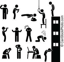 deprimere, suicidio, persone, triste, uccidere, uomo
