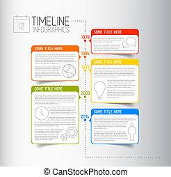 descrittivo, timeline, infographic, sagoma, relazione, bolle