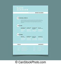 descrizione, forma, resume., domanda, lavoro, vettore, sagoma, occupazione, cv