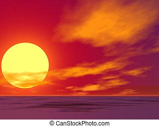 deserto, alba, rosso