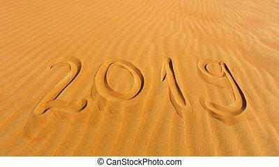 deserto, sabbia, 2019, scritto, anno