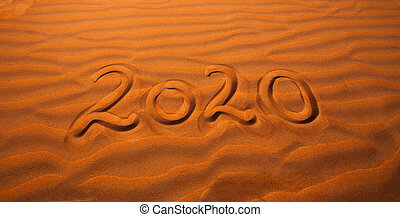deserto, sabbia, 2020, scritto, anno