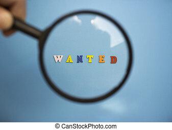desiderato, blu, parola, vetro., ricerca, lettere, personale, legno, work., attraverso, ingrandendo, fondo, colorato