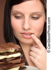 desiderio, donna, -, giovane, cioccolato, ritratto