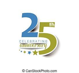design., anniversario, 25, anni, celebrazione