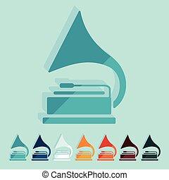 design:, appartamento, grammofono
