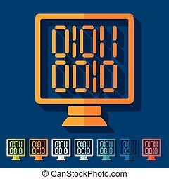 design., binario, schermo, computer, appartamento