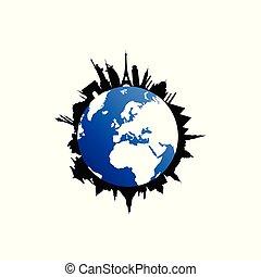 destinazione corsa, silhouette, globo