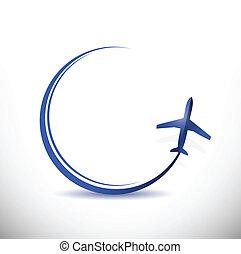 destinazione, viaggiare, concetto, illustrazione, aereo