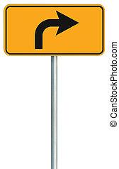 destra, avanti, segno, tracciato, isolato, giallo, turno, bordo della strada, strada