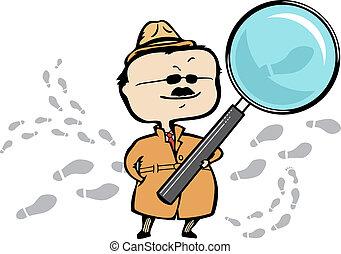 detective, essere, vettore, perdita, lattina, ingombri, investigatore, -, privato, ingrandendo, scalato, vetro, o, senza, illustrazione, quality., documento, qualsiasi, formato