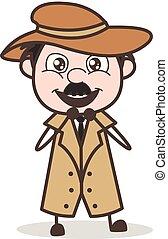 detective, illustrazione, cartone animato, vettore, espressione, eccitato