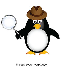 detective, ingrandendo, pinguino