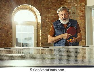 detenere, anziano, posto lavoro, divertimento, uomo, ping-pong, gioco