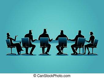 detenere, persone affari, riunione