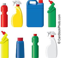 detersivo, set, bottiglie, plastica