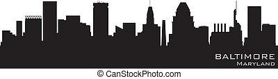 dettagliato, baltimora, silhouette, vettore, skyline., maryland