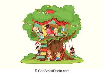 dettagliato, bambini, colorito, scala, detenere, illustrazione, bambini, vettore, altalena parco, divertimento, gioco, treehouse