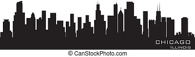 dettagliato, chicago, illinois, vettore, skyline., silhouette