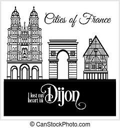 dettagliato, città, illustration., architecture., dijon, -, france., vettore, trendy