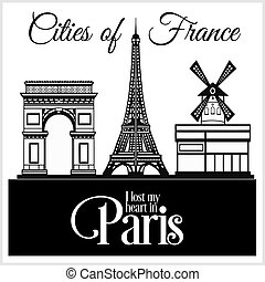 dettagliato, città, illustration., architecture., -, parigi, france., vettore, trendy