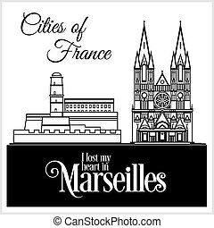 dettagliato, città, illustration., marcielles, architecture., -, france., vettore, trendy