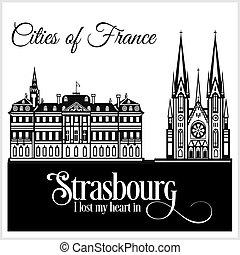 dettagliato, città, illustration., strasburgo, architecture., -, france., vettore, trendy