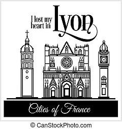 dettagliato, città, lyon, illustration., architecture., -, france., vettore, trendy
