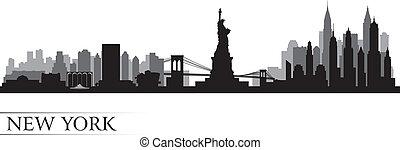 dettagliato, città, silhouette, orizzonte, york, nuovo