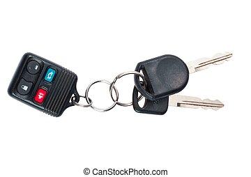 dettagliato, colpo, chiavi, automobile, bottoni, spinta