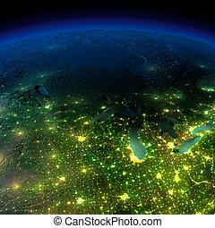 dettagliato, elementi, capannoni, illuminato, ammobiliato, esagerato, luce, immagine, terreno, oceans., moonlight., acqua, questo, nasa, terra, città, altamente, traslucido, splendore