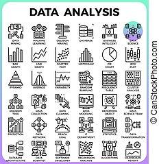 dettagliato, icone concetto, analisi, linea, dati