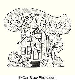 dettagliato, iscrizione, dolce, -, mano, paese, cottage, disegnato, home., scarabocchiare