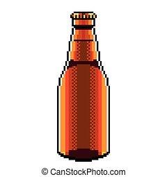 dettagliato, isolato, illustrazione, birra, vettore, bottiglia, pixel