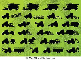 dettagliato, leghe, industriale, camion, mietitori, trattori, illustrazione, apparecchiatura, silhouette, vettore, escavatori, collezione, fondo, agricoltura, agricoltura