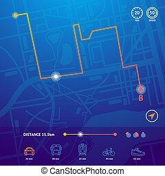 dettagliato, mappa, città, concept., realistico, vettore, navigazione, 3d
