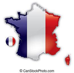 dettagliato, mappa, francia