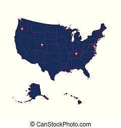 dettagliato, mappa, illustration., stati uniti, hawaii., alaska, americano, vettore, includere, continente