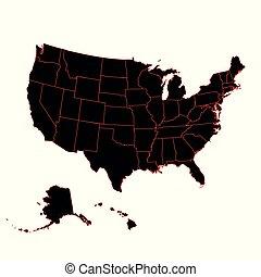 dettagliato, mappa, stati uniti, ala, americano, includere, continente