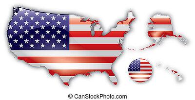 dettagliato, mappa, stati uniti