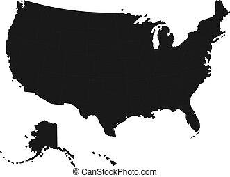 dettagliato, mappa, stati, unito, america