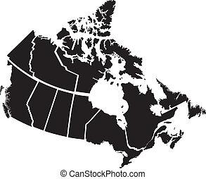 dettagliato, mappa, territori, canadese