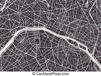 dettagliato, mappa, vettore, parigi