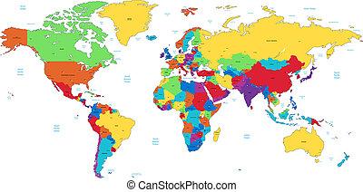dettagliato, mondo, variopinto, mappa