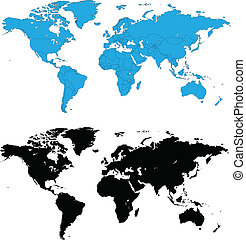 dettagliato, mondo, vettore, mappe