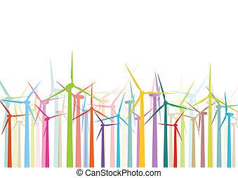 dettagliato, mulini vento, ecologia, colorito, elettricità, illustrazione, silhouette, vettore, generatori, collezione, fondo, vento