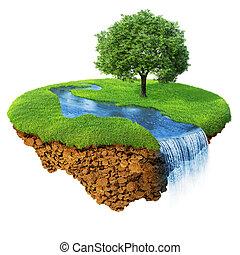 dettagliato, paesaggio., lifestyle., concetto, naturale, successo, serie, isolated., isola, idilliaco, prato, capriccio, uno, fiume, felicità, ecologico, albero., base., cascata, aria, suolo