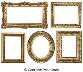 dettagliato, quadrato, oro, vendemmia, ovale, cornici, picure, vuoto